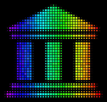 Pixelated colorful halftone library building icon drawn with spectrum color shades with horizontal gradient on a black background.