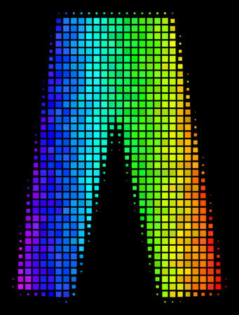 Pixelated bright halftone jeans icon drawn with spectral color variations with horizontal gradient on a black background. Colorful vector pattern of jeans symbol organized of rectangle array cells.