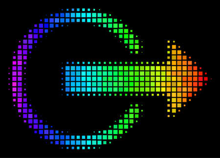 Pixel impressive halftone logout icon drawn with spectral color hues with horizontal gradient on a black background. Multicolored vector concept of logout illustration shaped from rectangular pixels.