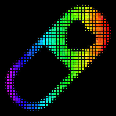 Dotted bright halftone love granule icon using rainbow color hues with horizontal gradient on a black background. Bright vector mosaic of love granule pictogram created with square array cells.