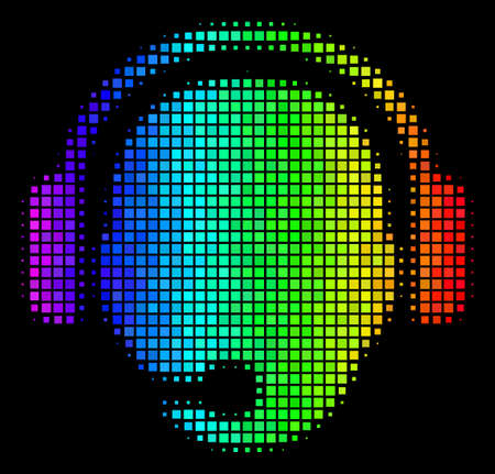 Pixelated impressive halftone operator head icon in spectrum color tinges with horizontal gradient on a black background. Bright vector collage of operator head symbol composed from square items.