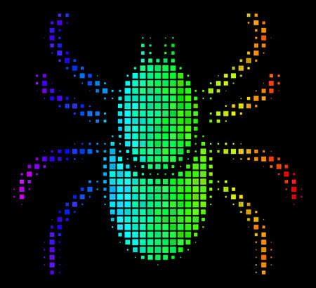 Pixelated colorful halftone mite tick icon in rainbow color shades with horizontal gradient on a black background. Color vector pattern of mite tick symbol constructed with rectangle points.