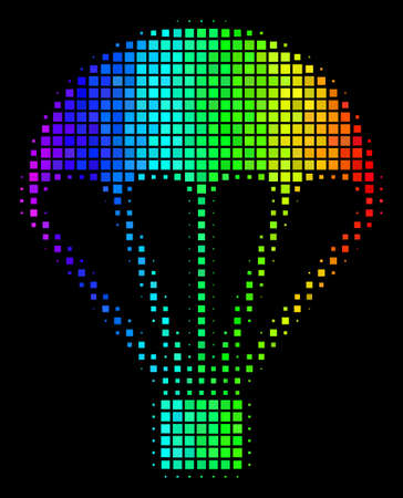Pixel impressive halftone parachute icon using rainbow color hues with horizontal gradient on a black background. Colored vector collage of parachute pictogram done with rectangular points.