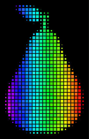 Dotted colorful halftone pear icon in spectrum color hues with horizontal gradient on a black background. Color vector composition of pear symbol created with rectangular points. Illustration