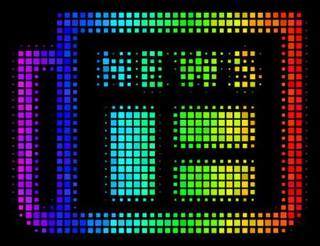 Stip indrukwekkend halftoon krant pictogram getekend met spectrale kleurtinten met horizontaal verloop op een zwarte achtergrond. Kleur vectorcollage van krantensymbool gecombineerd met rechthoekpixels.