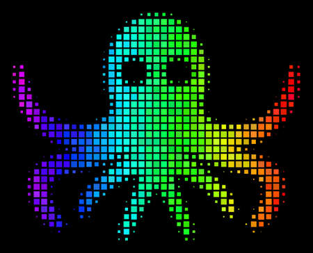 Dotted colorful halftone octopus icon drawn with rainbow color shades with horizontal gradient on a black background. Colored vector concept of octopus symbol composed of rectangular points.