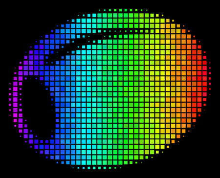 Pixelated bright halftone olive icon using spectrum color variations with horizontal gradient on a black background. Bright vector composition of olive symbol done from square pixels.  イラスト・ベクター素材