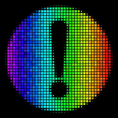 Dotted colorful halftone problem icon in spectrum color tints with horizontal gradient on a black background. Colorful vector composition of problem pictogram formed with rectangular matrix cells. Illustration