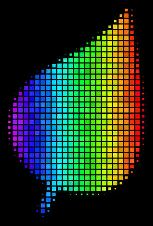 Dotted impressive halftone plant leaf icon drawn with spectrum color shades with horizontal gradient on a black background.