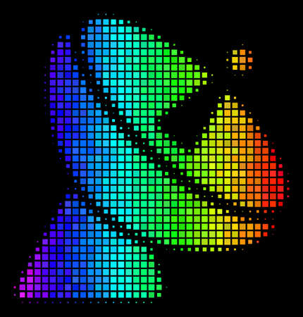 Pixelated impressive halftone radio telescope icon in spectral color tinges with horizontal gradient on a black background. Ilustração