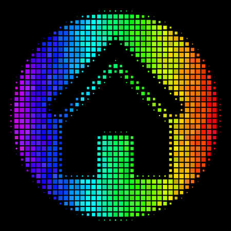 Pixel bright halftone real estate icon in spectrum color variations with horizontal gradient on a black background. Color vector collage of real estate illustration created of rectangular items. Ilustrace