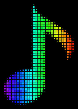 Pixelated impressive halftone musical note icon using rainbow color variations with horizontal gradient on a black background.