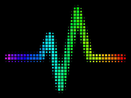Pixel impressive halftone pulse icon drawn with spectral color hues with horizontal gradient on a black background. Bright vector pattern of pulse illustration formed of square cells.