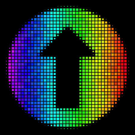 Dot impressive halftone rounded arrow icon in spectral color tinges with horizontal gradient on a black background.