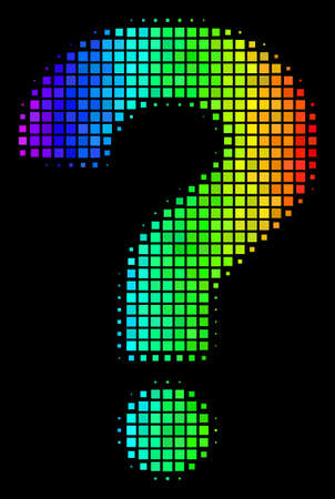 Dot impressive halftone question icon using spectral color shades with horizontal gradient on a black background. Colorful vector mosaic of question illustration organized of rectangular cells. Illustration
