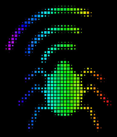 Pixelated colorful halftone radio bug icon drawn with spectrum color hues with horizontal gradient on a black background.