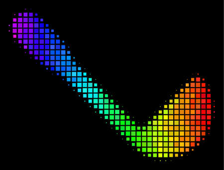 Pixel colorful halftone scoop icon using spectral color tones with horizontal gradient on a black background. Multicolored vector concept of scoop illustration combined of square cells.
