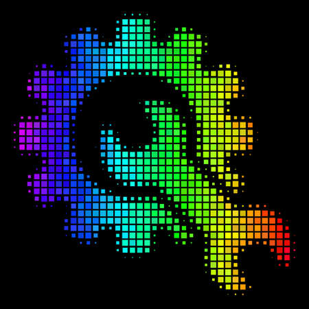 Dotted colorful halftone service tools icon using spectral color variations with horizontal gradient on a black background.