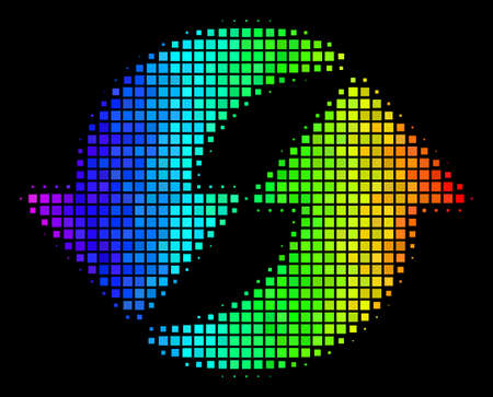 Dotted bright halftone refresh icon using spectral color shades with horizontal gradient on a black background. Colorful vector concept of refresh pictogram composed from square pixels.  イラスト・ベクター素材