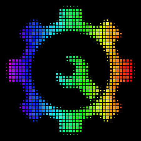 Pixelated impressive halftone service tools icon in spectrum color shades with horizontal gradient on a black background.