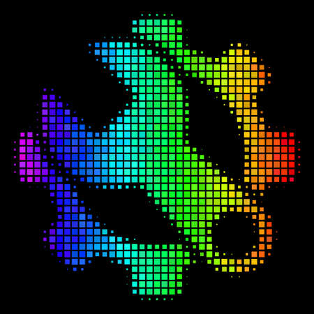 Dotted bright halftone service tools icon in spectrum color shades with horizontal gradient on a black background. Colored vector collage of service tools symbol organized from rectangle items. Illustration