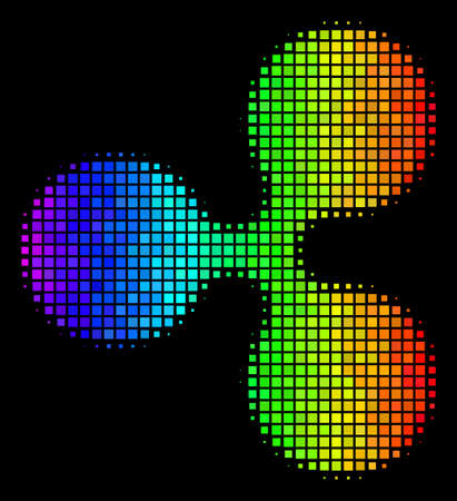 Pixel colorful halftone Ripple currency icon in spectrum color tinges with horizontal gradient on a black background. Colored vector collage of Ripple currency symbol combined with rectangle pixels.