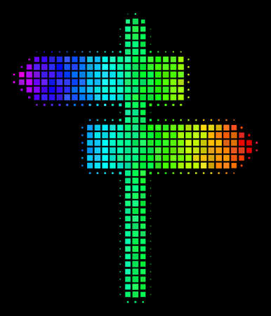 Pixel impressive halftone road pointer icon in rainbow color tones with horizontal gradient on a black background. Bright vector collage of road pointer illustration done from rectangular array cells. Illustration
