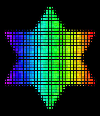Pixel impressive halftone six pointed star icon drawn with spectrum color tones with horizontal gradient on a black background.