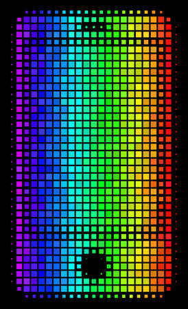 Dot impressive halftone smartphone icon in spectrum color tints with horizontal gradient on a black background. Colorful vector mosaic of smartphone pictogram formed from rectangular items.