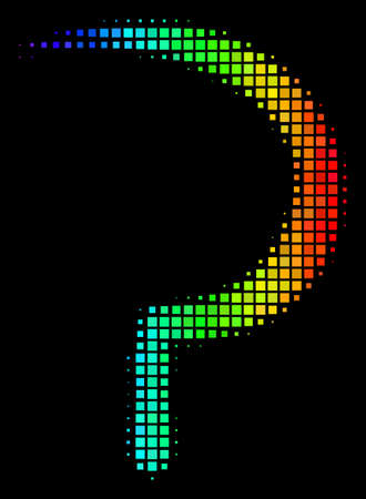 Pixel colorful halftone sickle icon drawn with spectrum color hues with horizontal gradient on a black background. Colored vector composition of sickle illustration done from square matrix cells.