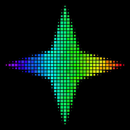 Dot impressive halftone space star icon in spectral color hues with horizontal gradient on a black background. Colorful vector composition of space star symbol constructed from rectangle cells.