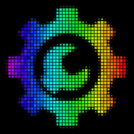 Pixelated bright halftone service tools icon drawn with spectral color variations with horizontal gradient on a black background.