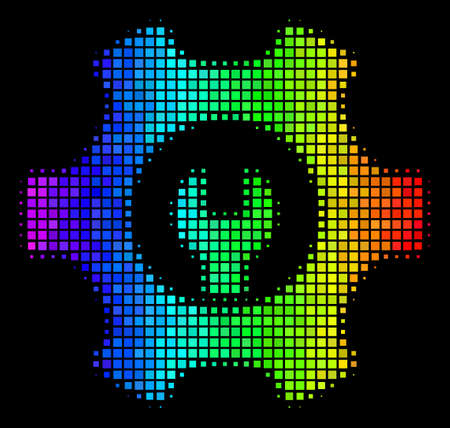 Dot impressive halftone service tools icon using spectral color tones with horizontal gradient on a black background. Color vector concept of service tools illustration designed with square elements.
