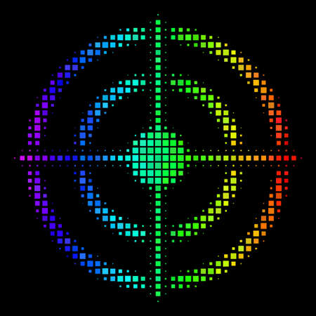 Dot colorful halftone target bullseye icon using spectral color tints with horizontal gradient on a black background. Illustration