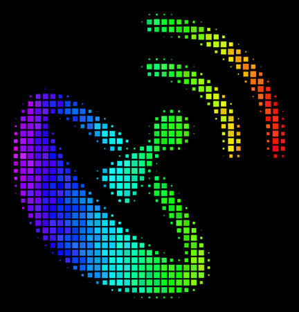 Dot colorful halftone space antenna icon using spectral color shades with horizontal gradient on a black background. Colored vector concept of space antenna pictogram done from rectangle matrix cells.