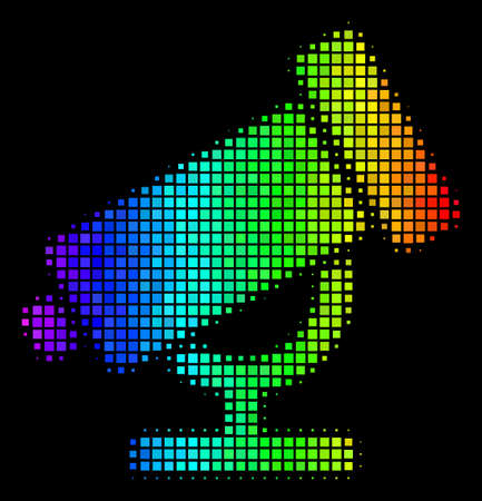 Dot bright halftone telescope icon using spectrum color variations with horizontal gradient on a black background. Colored vector concept of telescope pictogram designed from square dots.