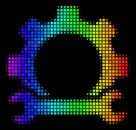 Dotted impressive halftone service tools icon using spectral color hues with horizontal gradient on a black background. Illustration