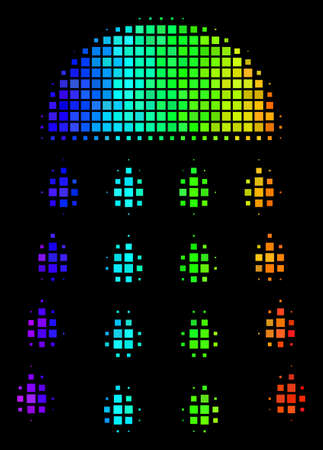 Pixelated colorful halftone spray stream icon drawn with rainbow color tones with horizontal gradient on a black background. Bright vector mosaic of spray stream pictogram made of rectangle points.