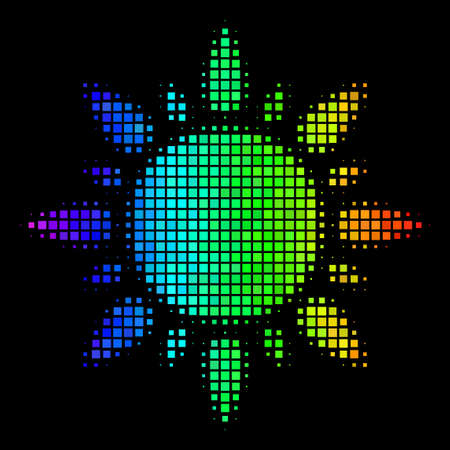 Dotted bright halftone sun icon drawn with spectral color tones with horizontal gradient on a black background. Colorful vector composition of sun pictogram shaped from rectangular points. Illustration