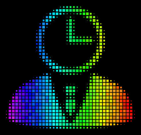 Dot impressive halftone time manager icon drawn with rainbow color tints with horizontal gradient on a black background. Bright vector concept of time manager pictogram combined with rectangle pixels.