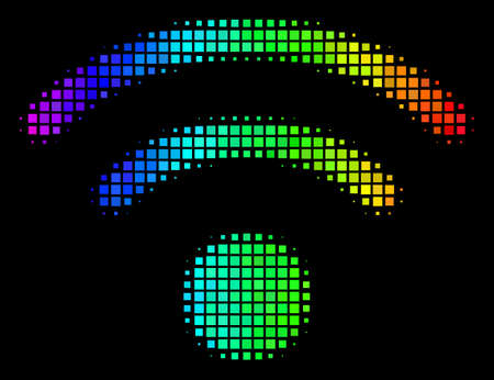 Pixelated impressive halftone WiFi icon drawn with rainbow color tinges with horizontal gradient on a black background. Color vector mosaic of WiFi symbol created with square points.