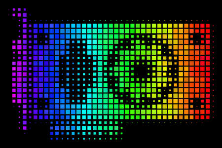 Pixel colorful halftone video GPU card icon using spectrum color variations with horizontal gradient on a black background. Illustration