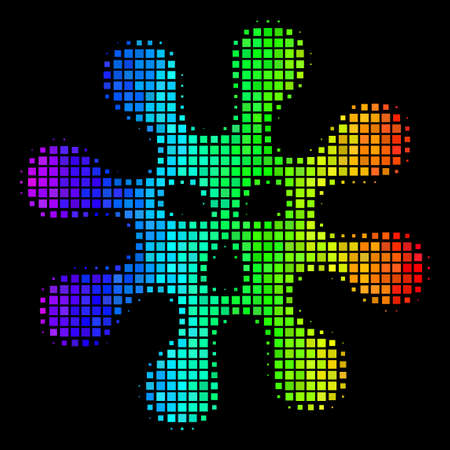 Pixelated bright halftone virus icon using rainbow color tones with horizontal gradient on a black background. Colored vector mosaic of virus pictogram composed with rectangular elements.