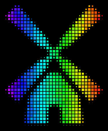 Dotted colorful halftone wind mill icon using rainbow color hues with horizontal gradient on a black background. Colored vector composition of wind mill pictogram formed from square cells. Illustration