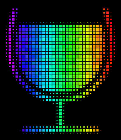 Dot impressive halftone wine glass icon drawn with spectrum color tones with horizontal gradient on a black background. Bright vector pattern of wine glass symbol combined with rectangle array cells.