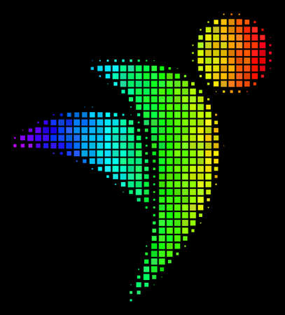 Dot colorful halftone winged man icon in spectral color variations with horizontal gradient on a black background. Bright vector pattern of winged man pictogram composed with rectangular matrix cells.