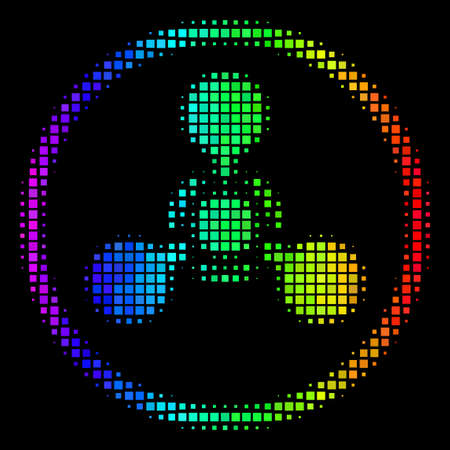 Dot colorful halftone WMD nerve agent chemical warfare icon using spectrum color hues with horizontal gradient on a black background.