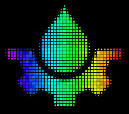 Pixel impressive halftone water service icon in rainbow color tints with horizontal gradient on a black background. 일러스트