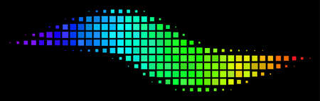 Dot bright halftone wave shape icon in rainbow color tinges with horizontal gradient on a black background. Bright vector mosaic of wave shape pictogram organized from square matrix cells.