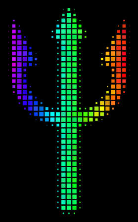 Dotted impressive halftone trident fork icon in spectrum color tones with horizontal gradient on a black background. Bright vector mosaic of trident fork pictogram made of rectangular points.